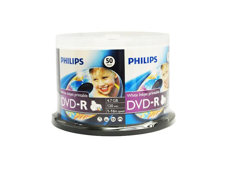 Philips DVD-R 16x 4.7GB 50 Pack Inkjet Printable