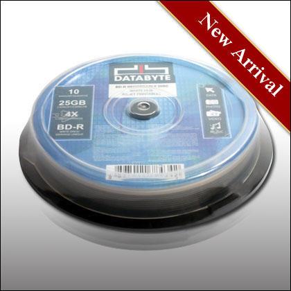 DATABYTE 4X BD-R 25GB WHIP INKJET PRINTABLE 10pcs Cake Box