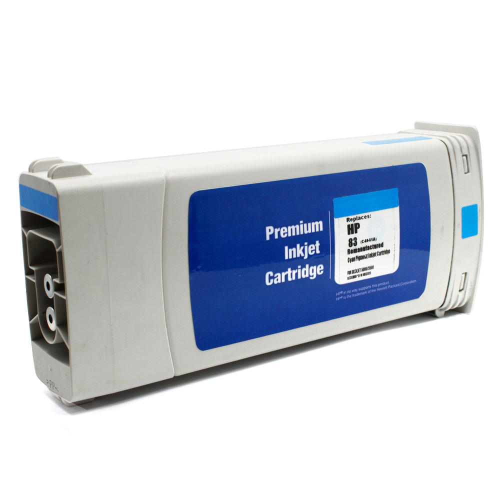 HP 83 Remanufactured Cyan Pigment Ink Cartridge (C4941A)