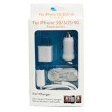 5in1 USB Car Charger+AC Charger+Cable+Headphones+Audio Splitter For iPhone 3G 4 4S