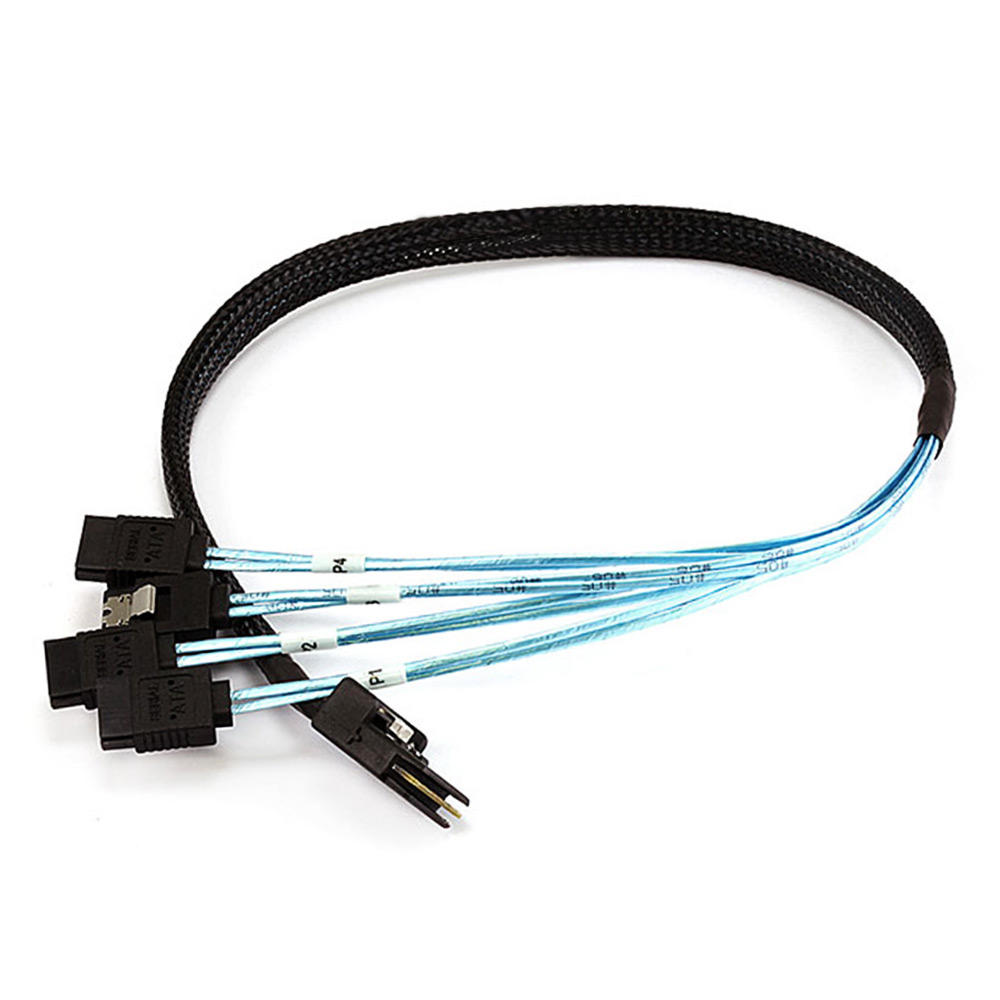 30AWG Internal Mini SAS 36pin (SFF-8087) Male w/ Latch to SATA 7pin Female (x4) Forward Breakout Cable - Black(3 lengths available) - Monoprice