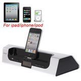 AC-C1322 iPEGA USB Audio HiFi Speaker Amplifier + Charger Dock for iPad iPhone iPod Alarm Clock