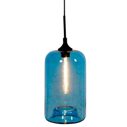 Color Bubbles Blue Glass 1 Light Pendant