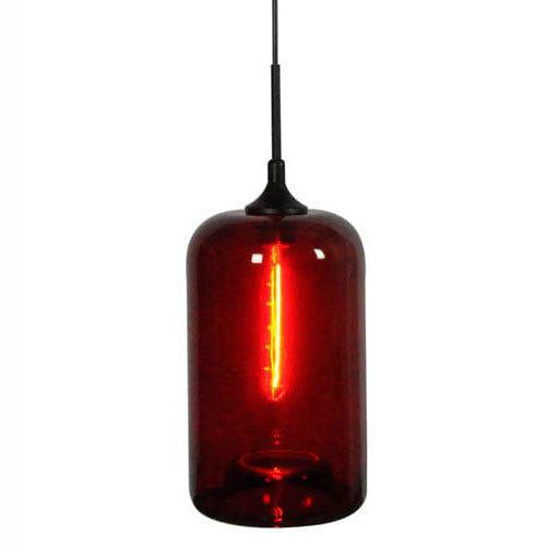 Color Bubbles Red Glass 1 Light Pendant