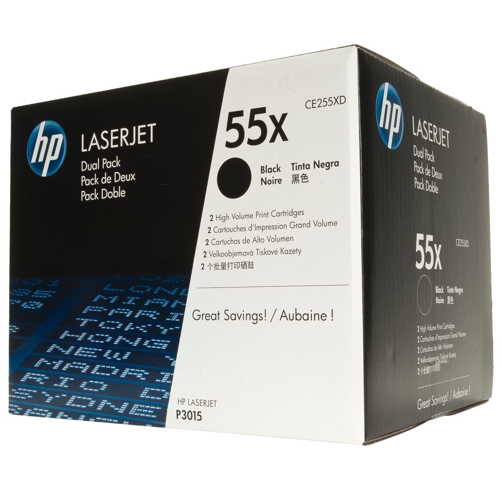 HP CE255XD Original Black Toner Cartridge (Dual Pack) in Retail Packaging