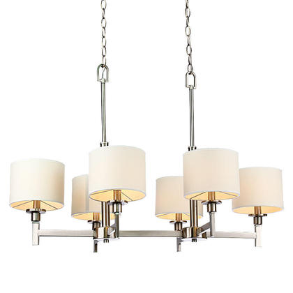 Medium 402f8 lightingbox c6042c6 chandeliers white shade brushed nickel 6  lights chandelier