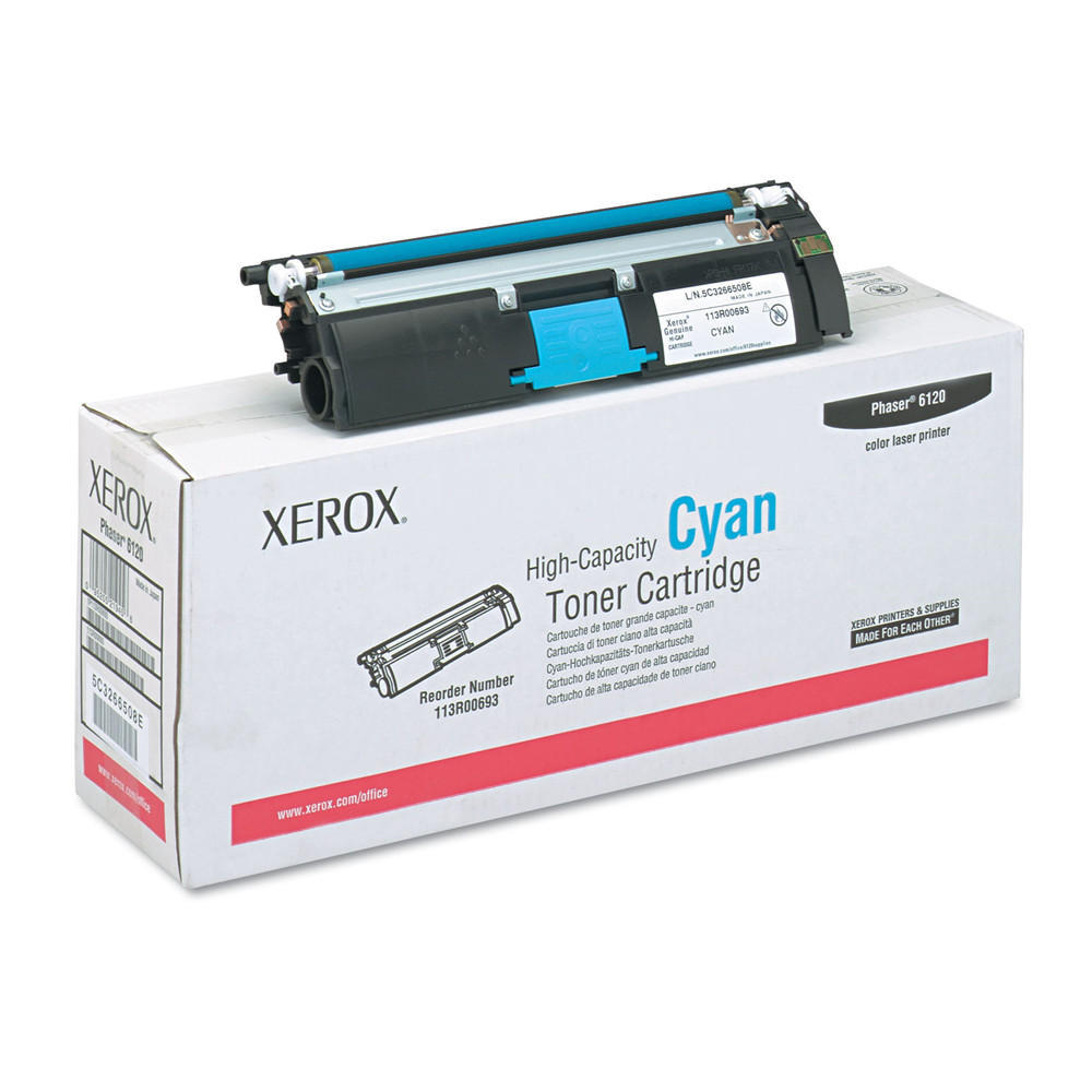 Xerox Original High Capacity Cyan Toner Cartridge (113R00693) for Phaser 6120 Series