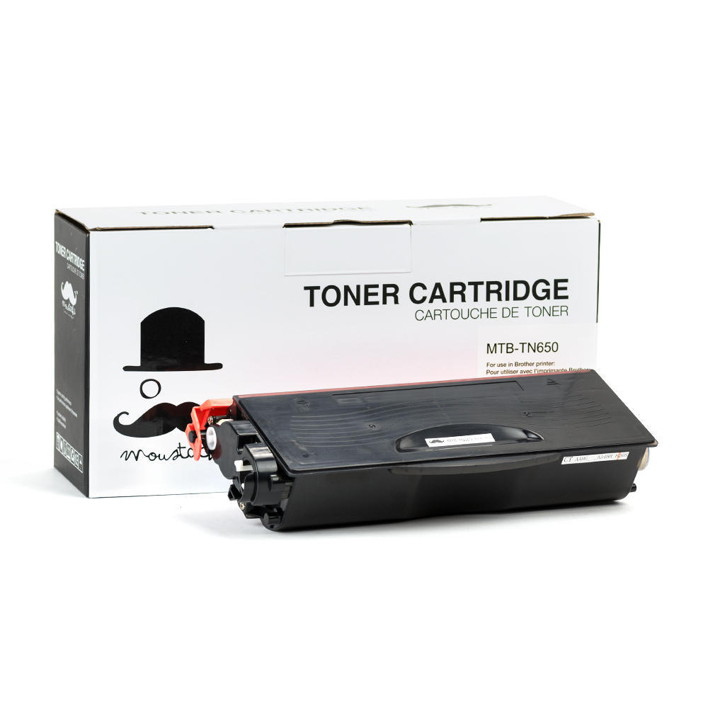 Brother TN650 / TN-650 New Compatible Black Toner Cartridge - Moustache
