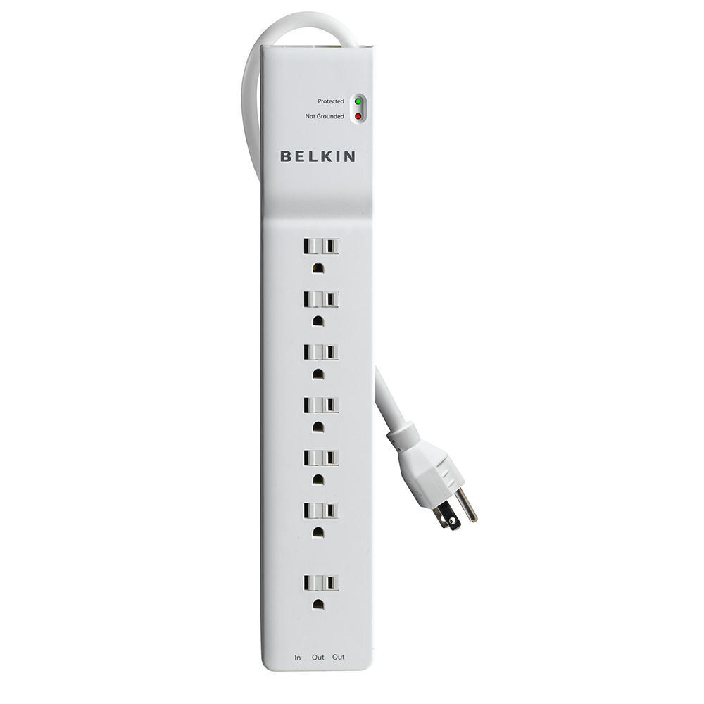 Belkin BE107201-04 7 Outlet Home/Office Surge Protector w/ Telephone Protection 4' cord