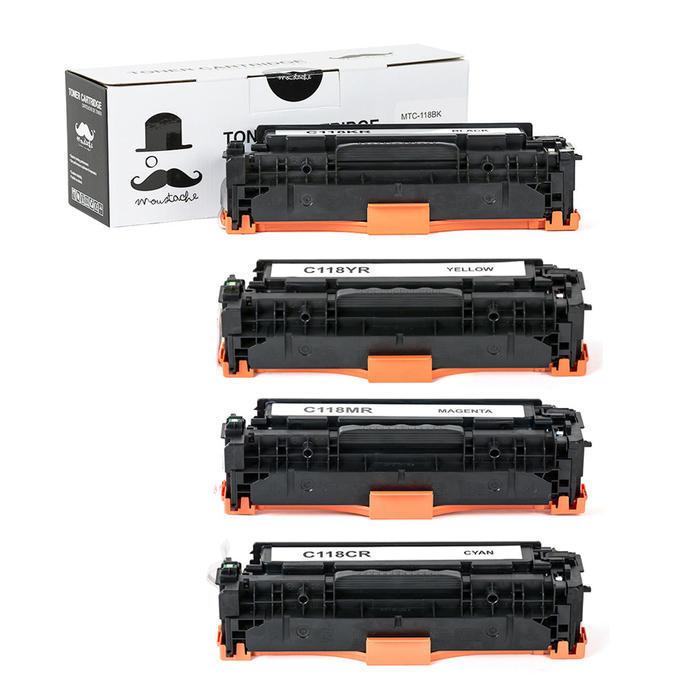 Canon 118 New Compatible Toner Cartridge Combo Set (BK/C/M/Y) - Moustache Canon118 Combo