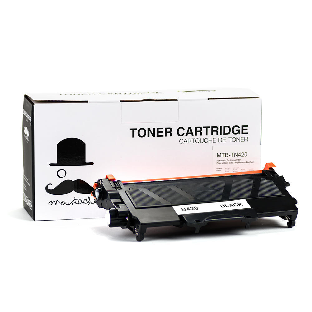 Brother TN420 New Compatible Black Toner Cartridge - Moustache