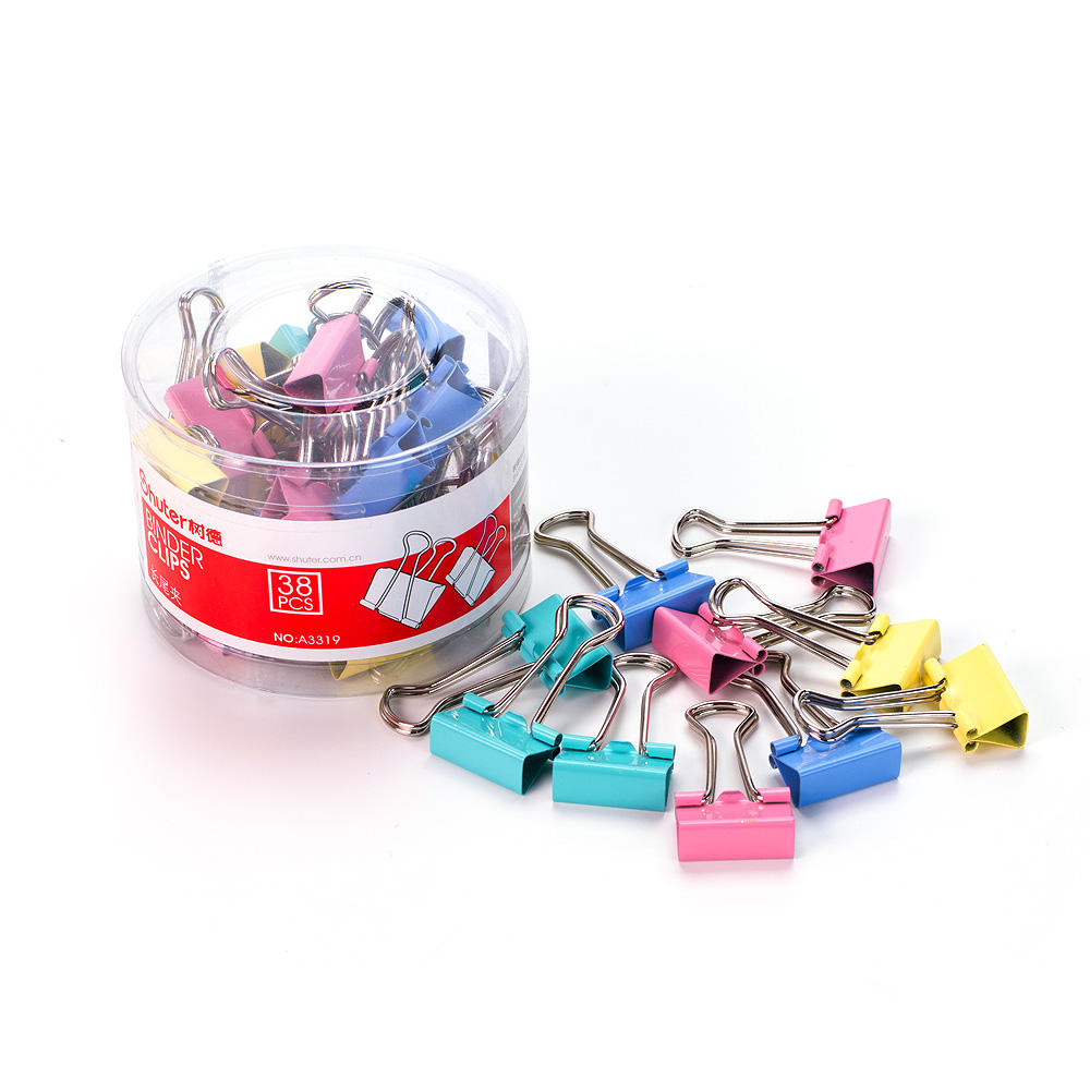 "Shuter Binder Clips, Fashion Colours, 3/4"", 38/Tub"