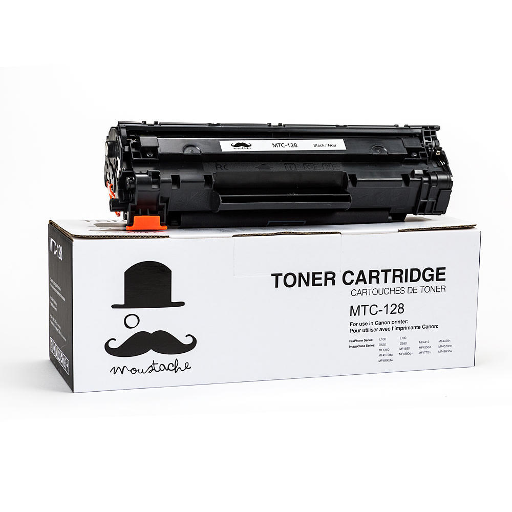 Canon 128 New Compatible Black Toner Cartridge (3500B001AA) - Moustache