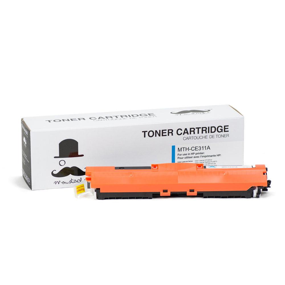 HP 126A CE311A New Compatible Cyan Toner Cartridge - Moustache