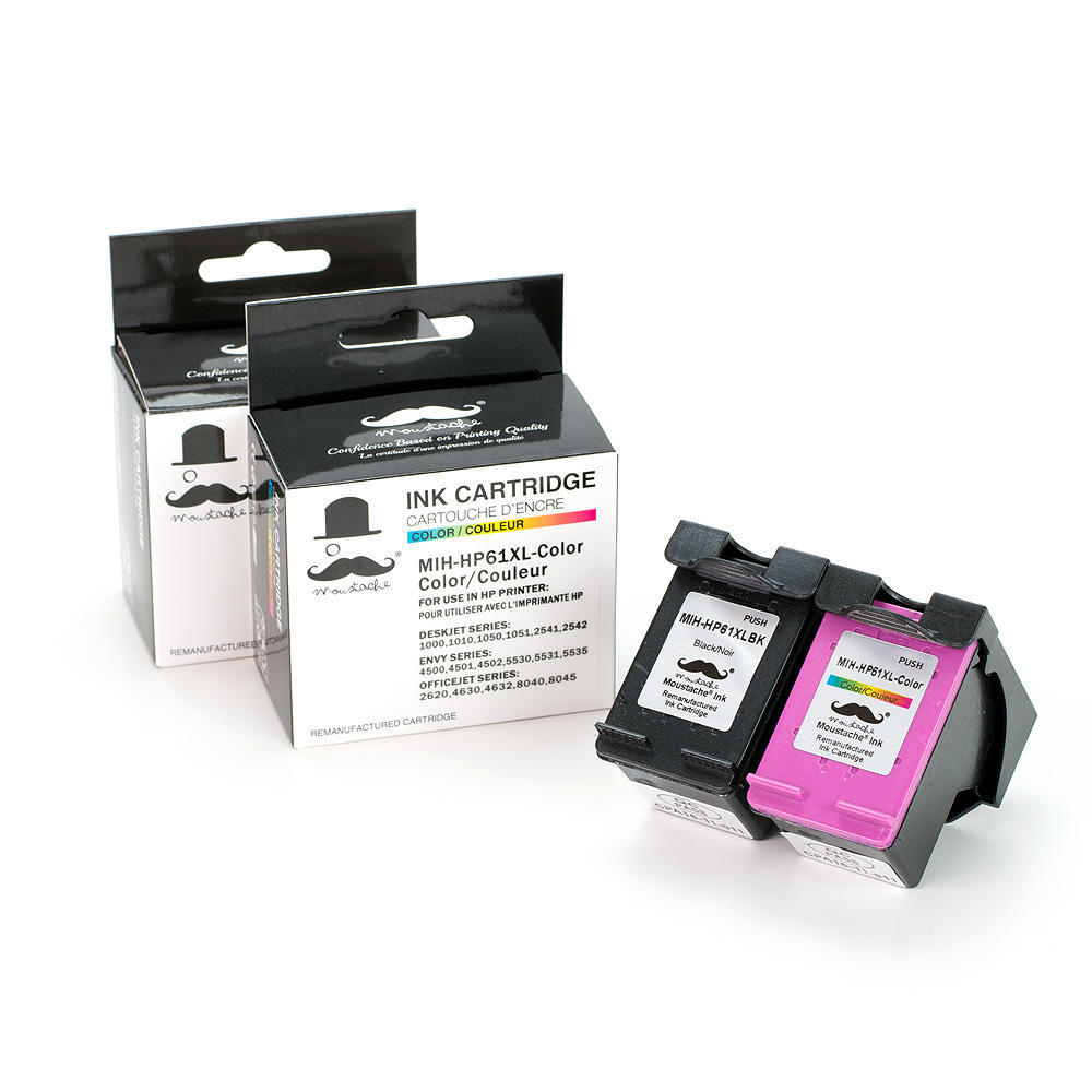 HP 61XL Remanufactured Ink Cartridges Combo Set (High Yield) - Moustache®