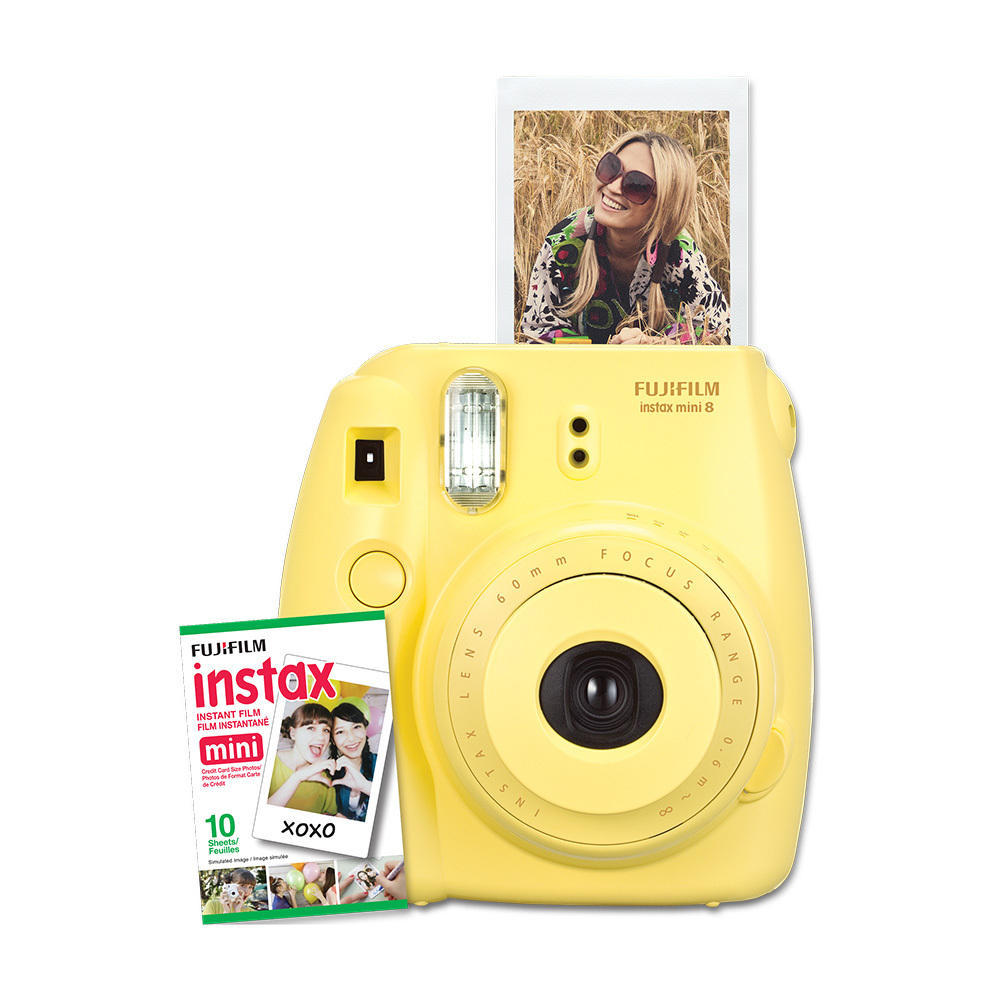 Fujifilm instax mini 8 Instant Film Camera (Yellow) with 10 sheets films