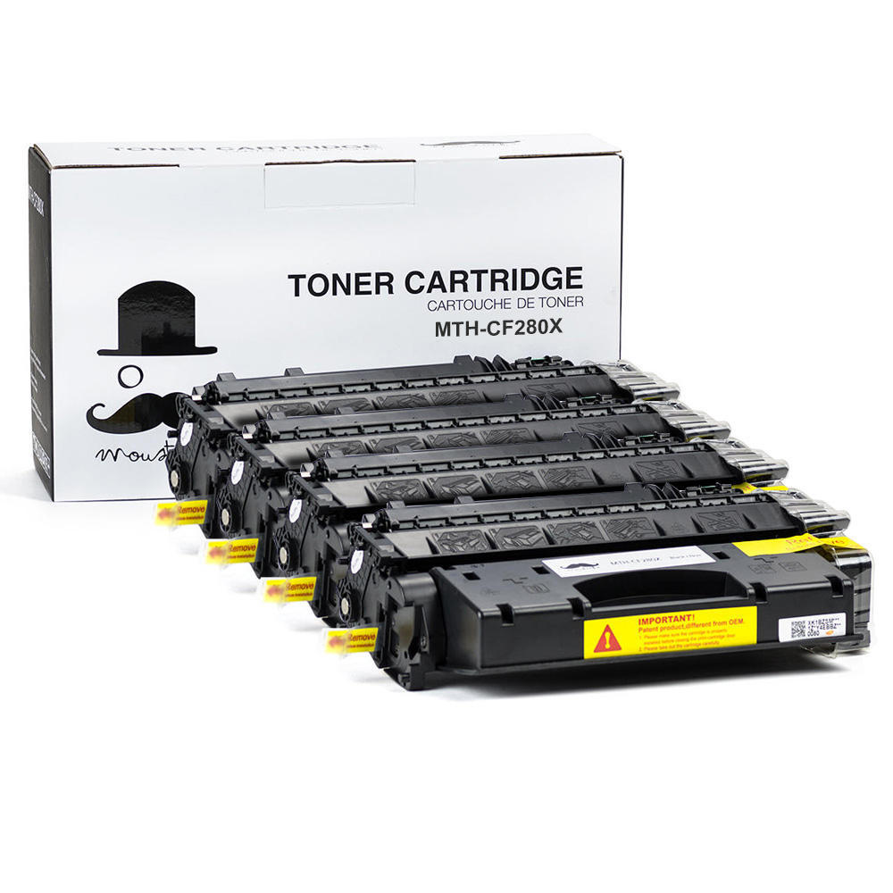 HP CF280X New Compatible Black Toner Cartridge High-Yield 4 Pack - Moustache