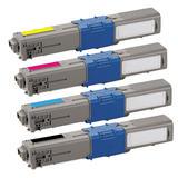 Okidata 44469701/44469702/44469703/44469801 New Compatible Toner Cartridges Combo Set - Moustache®