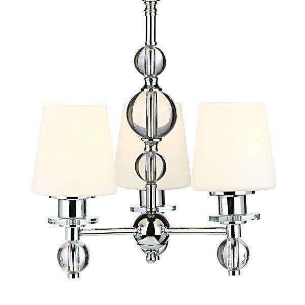 Glass Shade Chrome Finish 3 Lights Chandelier