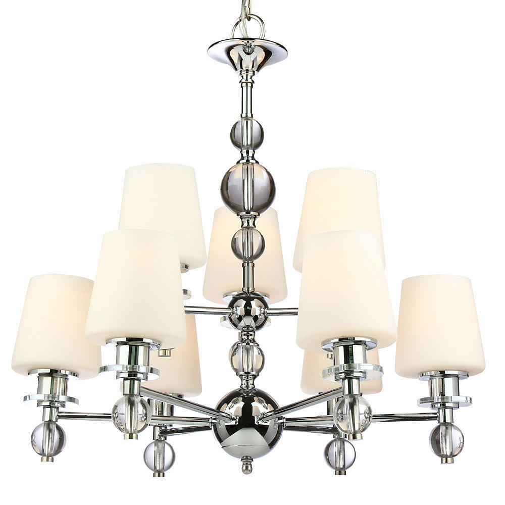 Glass Shade Chrome Finish 9 Lights Chandelier