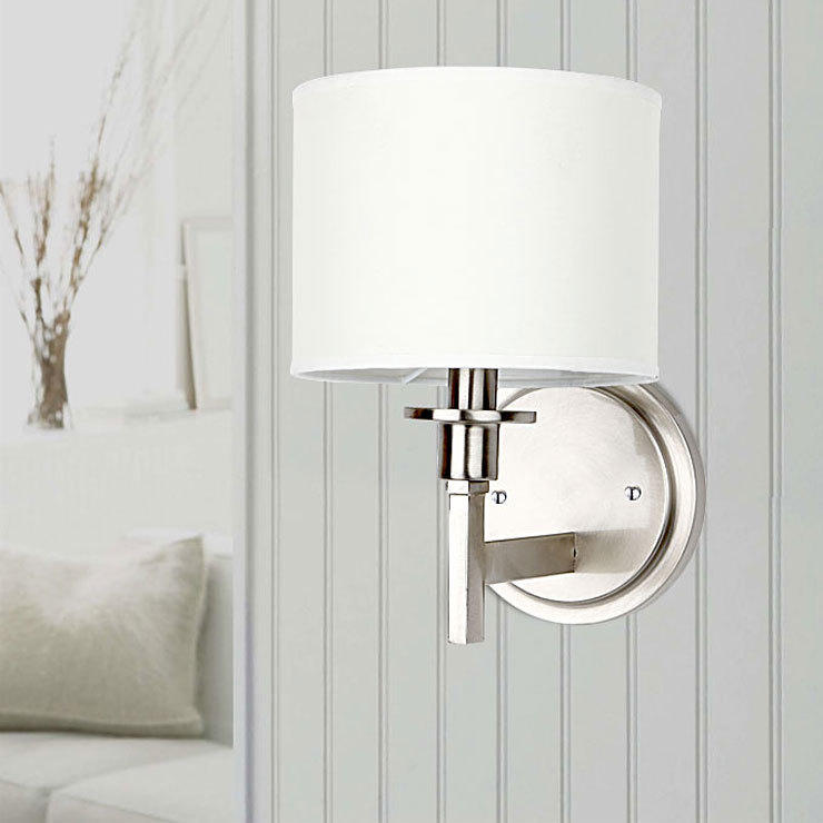 White Shade Brushed Nickel Finish 1 Light Wall Lamp Contemporary Lighting