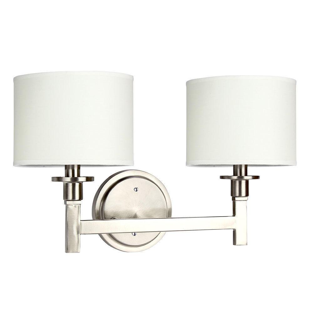 White Shade Brushed Nickel Finish 2 Lights Wall Lamp Contemporary Lighting