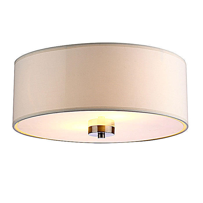 White Shade Fabric 2 Lights Ceiling Lamp Contemporary Lightingx