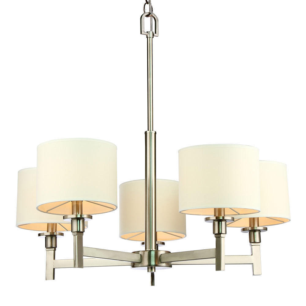 White Shade Brushed Nickel 5 Lights Chandelier