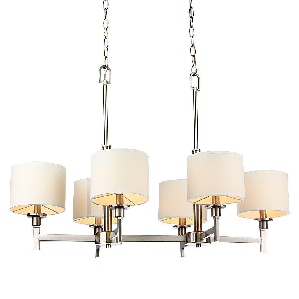 White Shade Brushed Nickel 6 Lights Chandelier