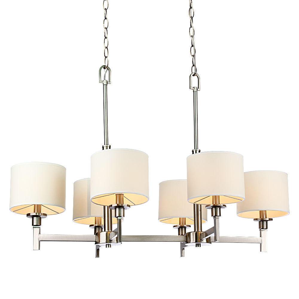 402f8 lightingbox c6042c6 chandeliers white shade brushed nickel 6 lights  chandelier