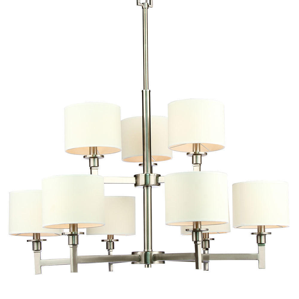 White Shade Brushed Nickel 9 Lights Chandelier