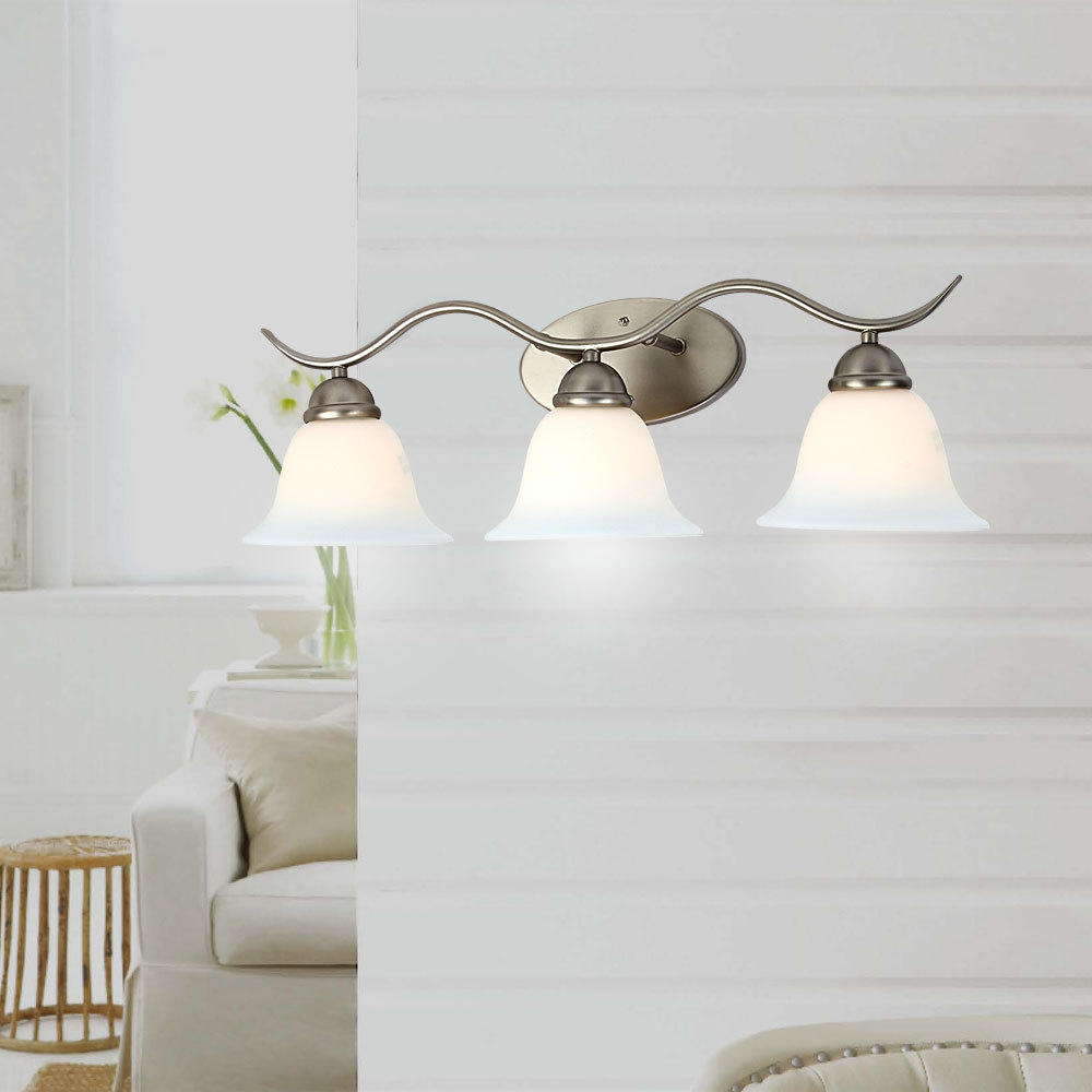 Wave Brushed Nickel Finish 3 Lights Wall Lamp Contemporary Lighting