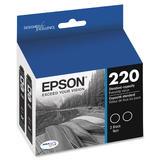 Epson T220 (T220120-D2) Original DURABrite Ultra Black Dual Pack Ink Cartridges