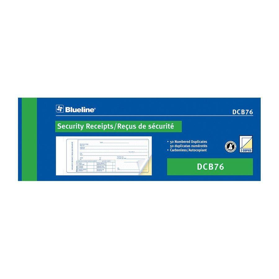 Blueline Security Receipts Carbonless Copy - Bilingual