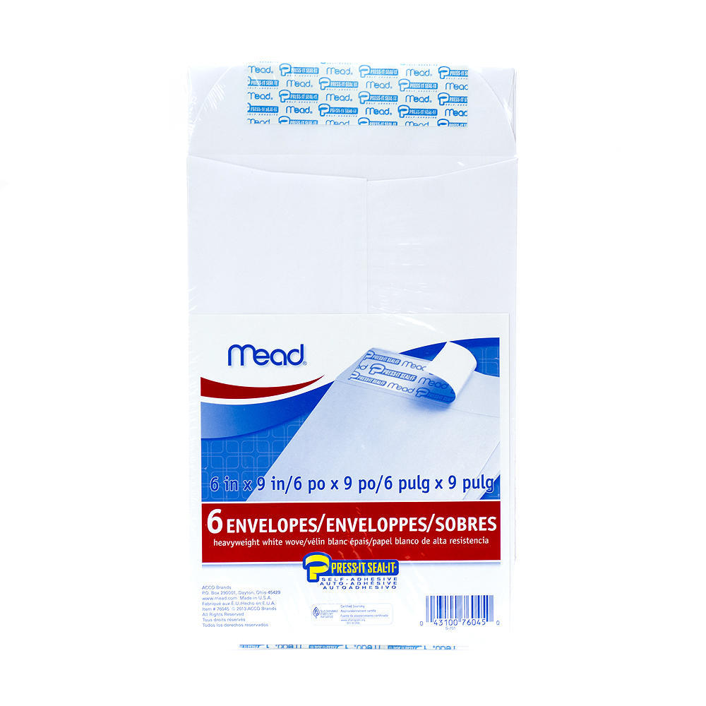 Mead Press-it Seal-it Self-adhesive Closure White Envelope