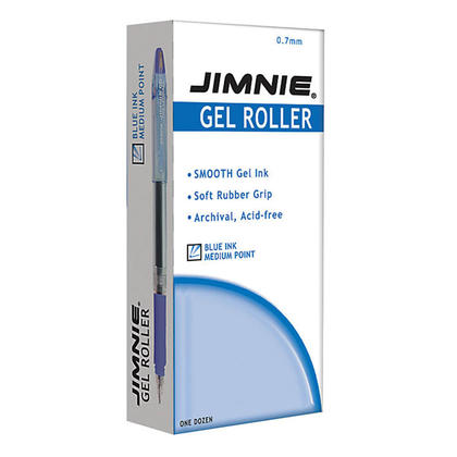 Zebra® Jimnie Gel Rollerball Stick Pens, 0.7mm, Blue Ink ...