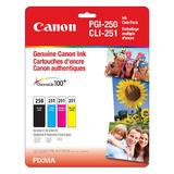 Canon PGI-250 BK+CLI-251 C/M/Y Original Ink Cartridge Combo Set (6497B009)