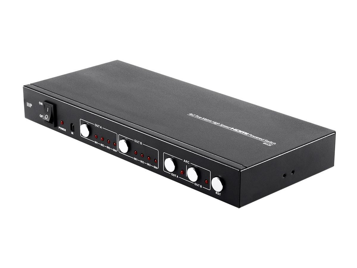 Blackbird 4K Pro 4x2 True Matrix High Speed HDMI Powered Switch with Control Remote, Coaxial Audio