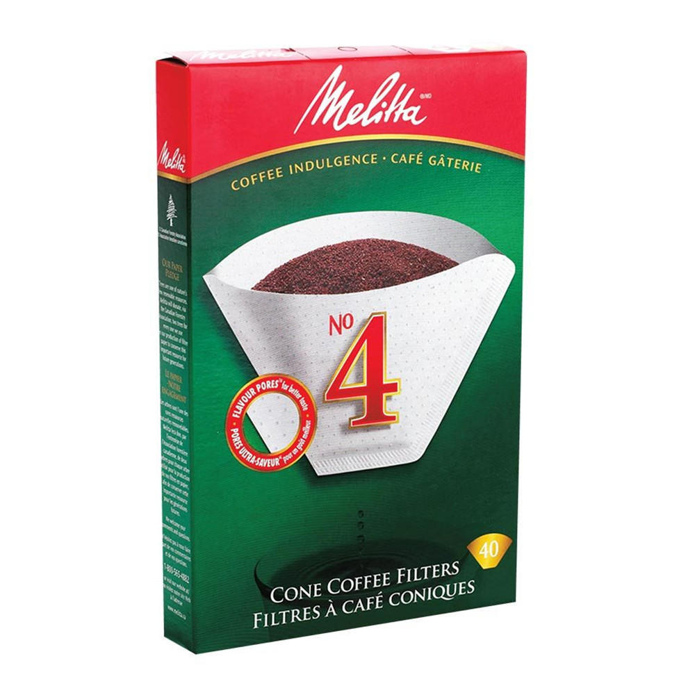 Melitta No 4 Cone Shaped Coffee Filters, Box of 40 852-129825