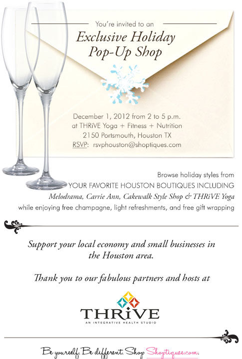Shoptiques Calling All Houstonians: Shoptiques Pop-up Shop