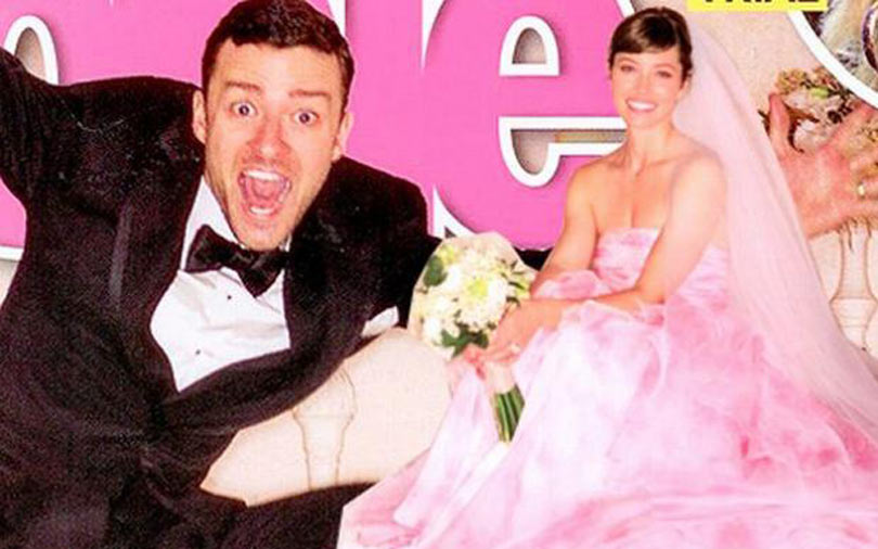 Shoptiques Jessica Biel Makes it Official: Colored Wedding Dresses are In