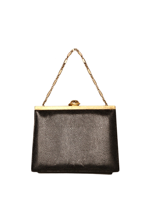 Shoptiques SlideShow Leather Gold-Frame Bag