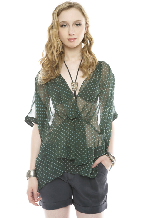 Shoptiques SlideShow Polka-Dot Silk Tunic