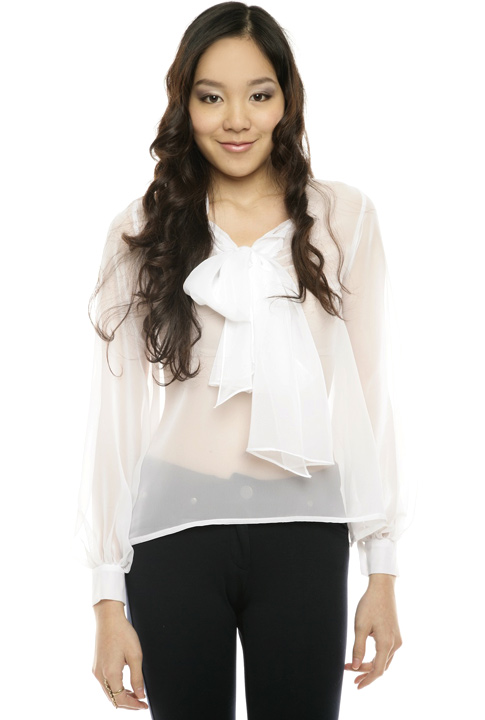 Shoptiques SlideShow Sheer Bow Blouse