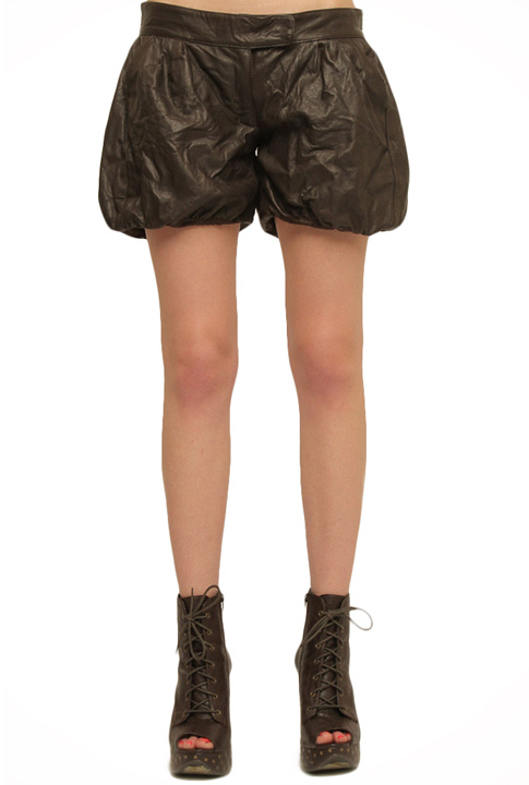 Shoptiques SlideShow Ruched Leather Shorts