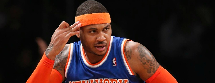 New York Knicks forward Carmelo Anthony (7) reacts after hitting a three point shot in the first half of the Knicks NBA basketball game Brooklyn Nets at the Barclays Center, Thursday, Dec. 5, 2013, in New York. Amthony scored 19 points i the Knicks 113-83 victory over the Nets. (AP Photo/Kathy Willens)