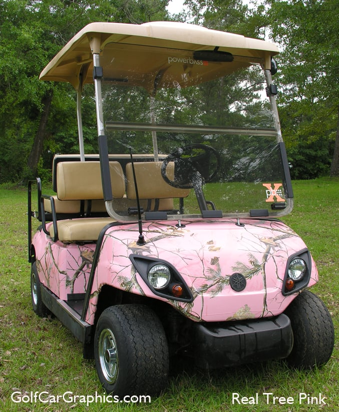 Real tree pink Golf car wrap