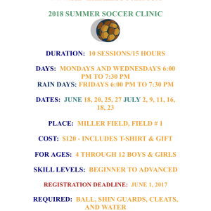 Silver Lake Soccer Academy Announces Our Summer Clinic Dates