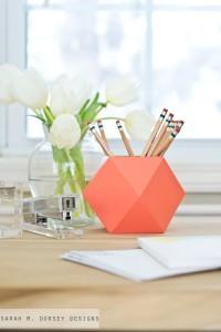 geometric pencil holder