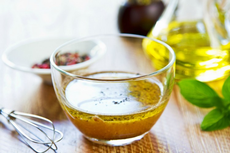 Homemade vinaigrette with fresh ingredients